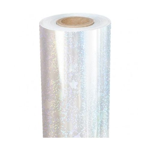 """8"""" x 100' Holographic Foil Roll with 1/2"""" Core [Stars, Transparent Underlay] (1 Roll) Image 1"""