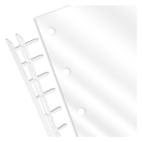 """Clear Gloss 8-1/2"""" x 11"""" Covers with 9 Hole (Top-Bind) for Velo [7 Mil, Square Corners, No Tissue] (100pk) Image 1"""