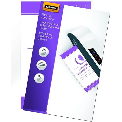 Fellowes 3mil Legal Size Thermal Laminating Pouches [52006] - Pack of 25 Image 1