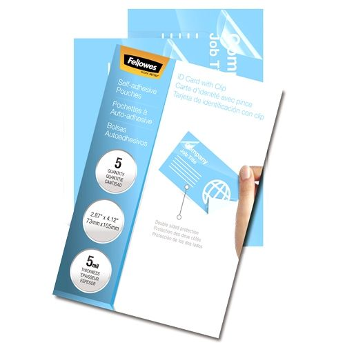 Fellowes Self-Adhesive Business Card Size Laminating Pouches [5220101] - Pack of 5 Image 1