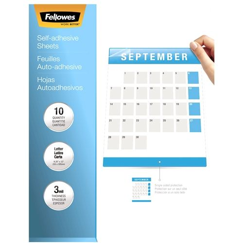 """Fellowes Self-Adhesive 3mil 9"""" x12"""" Letter Size Laminating Sheets - Pack of 10 Image 1"""