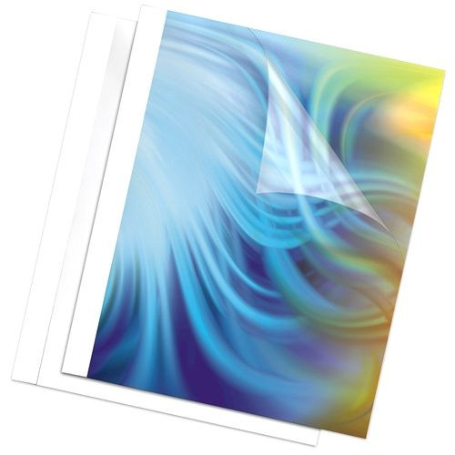 """Fellowes 1/8"""" Thermal Binding Covers [Clear Front/Glossy White Back, 52220] - Pack of 10 Image 1"""