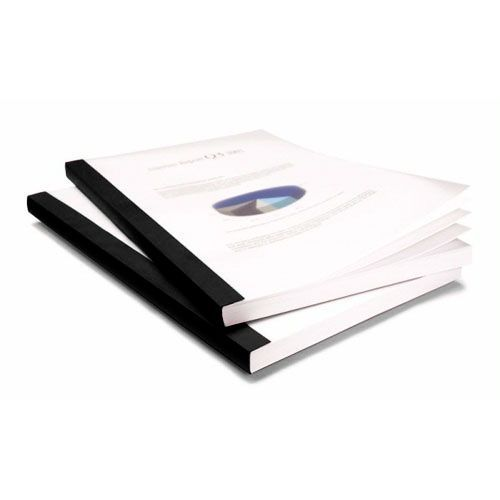 "1/4"" Coverbind Clear Linen Thermal Binding Covers [Black] (80 / Box) Image 1"