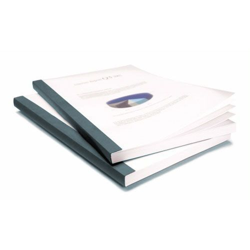 "1/4"" Coverbind Clear Linen Thermal Binding Covers [Graphite] (80 / Box) Image 1"