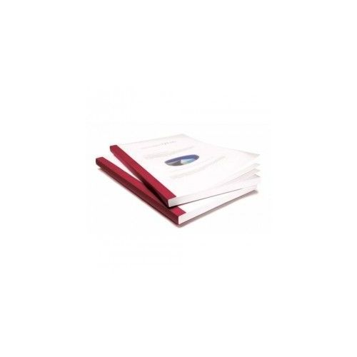 "1/4"" Coverbind Clear Linen Thermal Binding Covers [Red] (80 / Box) Image 1"