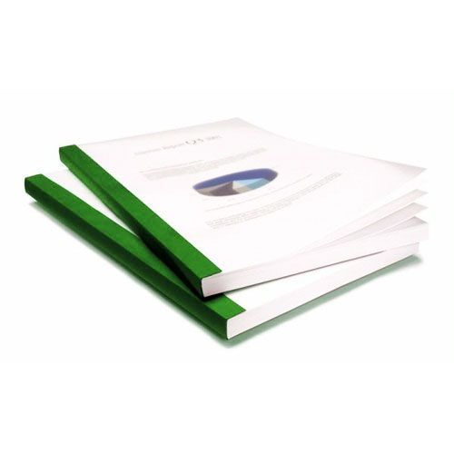 """3/4"""" Coverbind Clear Linen Thermal Binding Covers [Green] (50 / Box) Image 1"""