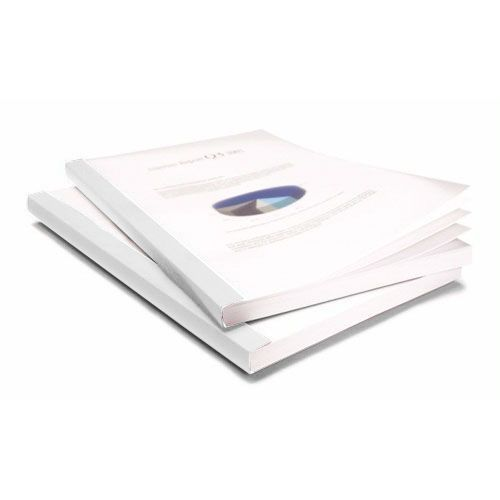 "3/4"" Coverbind Clear Linen Thermal Binding Covers [White] (50 / Box) Image 1"