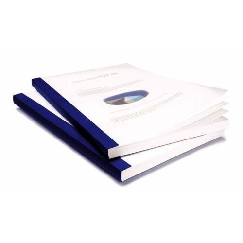 """3/8"""" Coverbind Clear Linen Thermal Binding Covers [Navy Blue] (70 / Box) Image 1"""