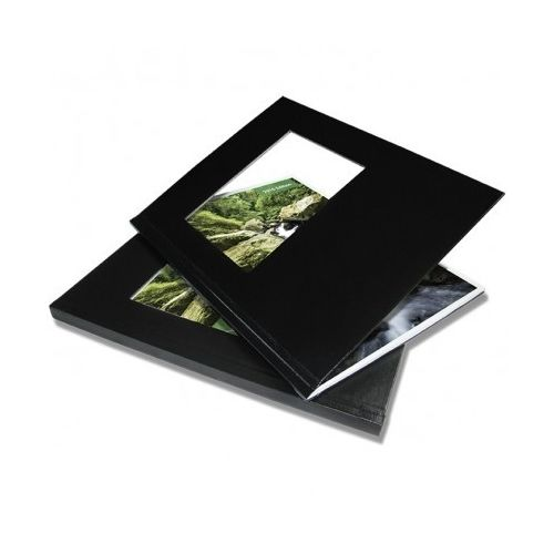 "3/8"" Coverbind Hardcover with Window Thermal Binding Covers [Black] (9 / Box) Image 1"