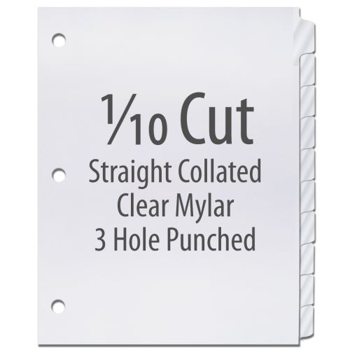 1/10 Cut Copier Tabs [Straight Collated, Mylar, 3-Hole] (1250 Tabs)