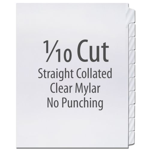1/10 Cut Copier Tabs [Straight Collated, Mylar] (1250 Tabs)