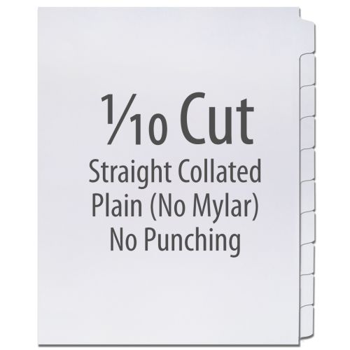 1/10 Cut Copier Tabs [Straight Collated, No Mylar, Recycled Paper] (1250 Tabs)