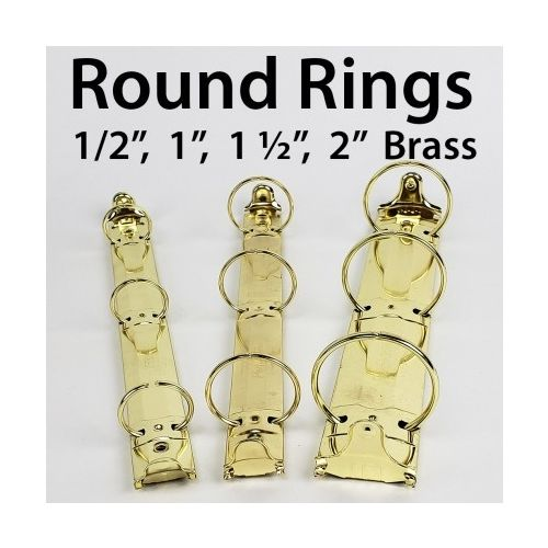 "3-Ring Letter Size Brass Binder Mechanisms [1-1/2"" Round Ring] (192/Bx) Image 1"