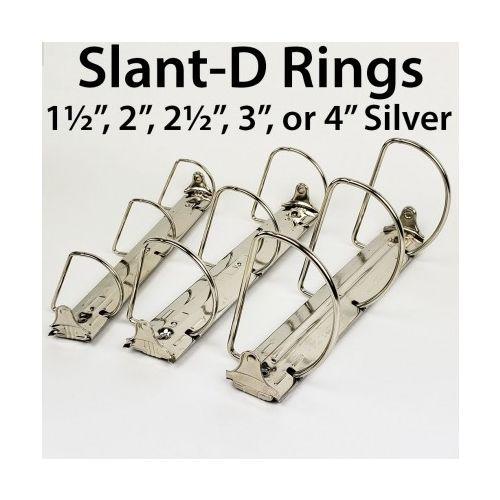 """3-Ring Letter Size Silver Binder Mechanisms [1-1/2"""" Slant-D Ring] (50/Bx) Image 1"""