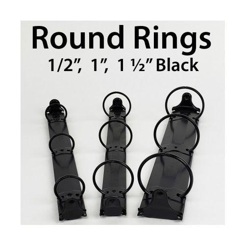 "3-Ring Letter Size Black Binder Mechanisms [1/2"" Round Ring] (200/Bx) Image 1"