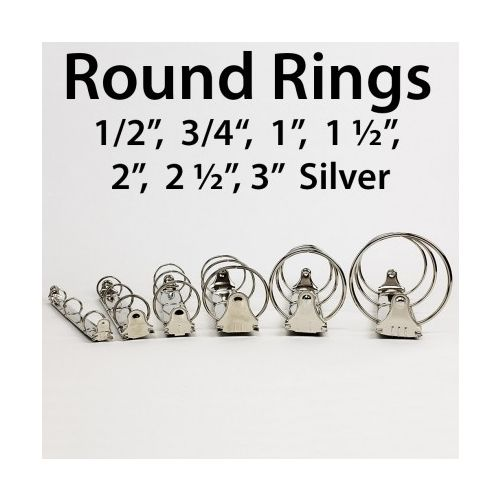 """3-Ring Letter Size Silver Binder Mechanisms [3"""" Round Ring] (50/Bx) Image 1"""