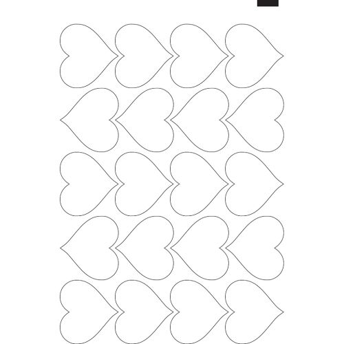 "2.75"" x 3"" Kiss-Cut Heart Labels/Stickers (11"" x 17"" Sheet, 20-Up) Dyna-Cut Flexible Rotary Die"