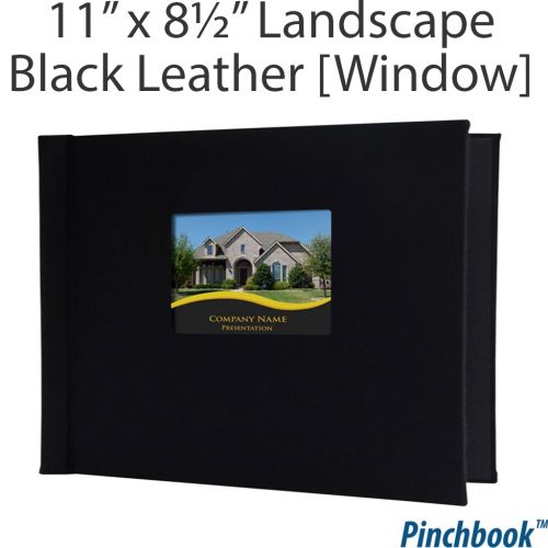 "8 ½"" H x 11"" W Black Leather Pinchbook™ Photo Books [With Window] (5/bx) Item#858511BLKLTHL"
