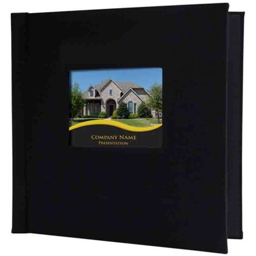 "12"" x 12"" Black Faux/Vegan Leather Pinchbook Hard Cover Photo Books with Window (5 Pack)"