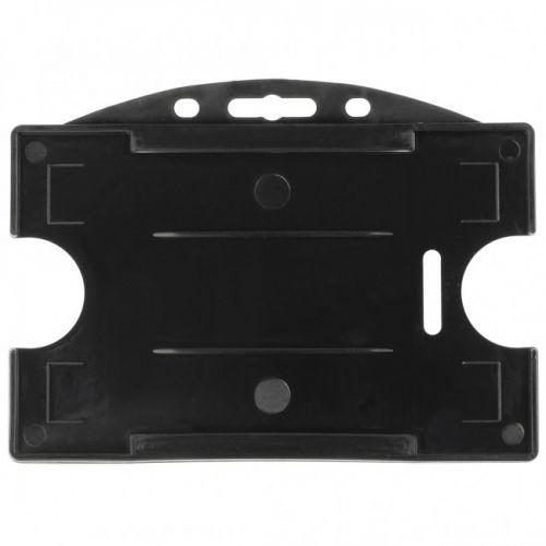 Black Rigid Plastic Badge Holders [Horizontal] (100/Pk)