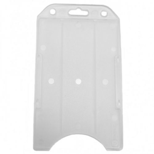 White Rigid Plastic Badge Holders [Vertical] (100/Pk)