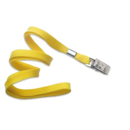 Yellow Lanyard With Bull Dog Clip [No Break-Away] (100/Bx)