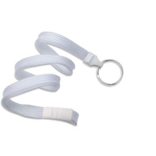 White Lanyard With Split Ring [Breakaway] (100/Bx)