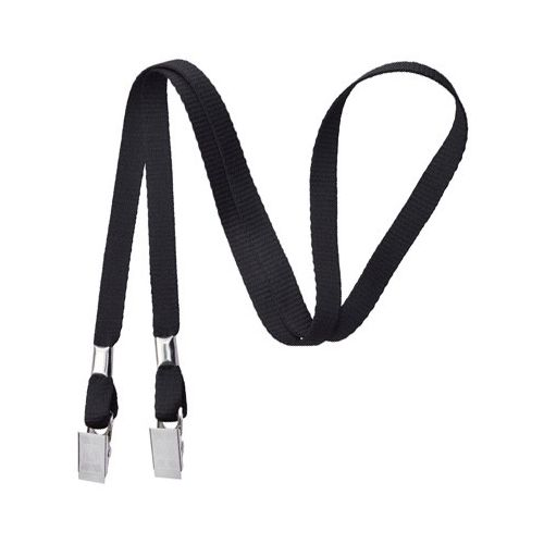 Black Open-Ended Lanyard with Bull Dog Clips