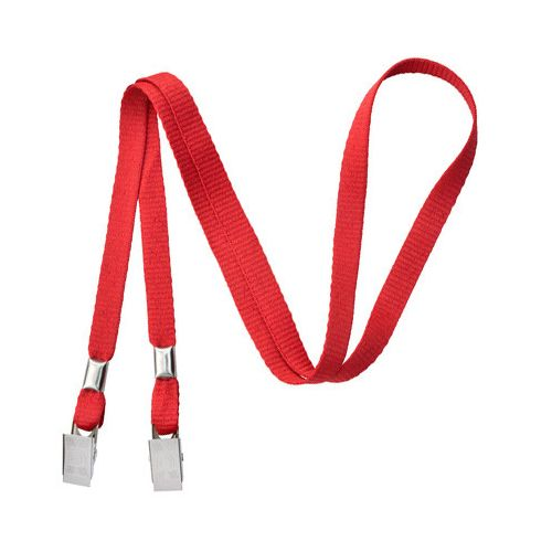Red Open-Ended Mask Holding Lanyards with Bull Dog Clips (100 Pack)