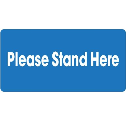 "Please Stand Here Social Distancing Floor Graphic 24"" x 12"" Rectangle Image 1"