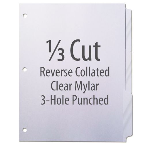 1/3 Cut Copier Tabs [Reverse Collated, Mylar, 3-Hole] (1260 Tabs)