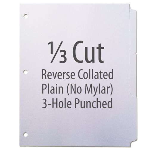 1/3 Cut Copier Tabs [Reverse Collated, No Mylar, 3-Hole] (1260 Tabs)