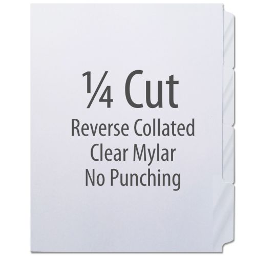 1/4 Cut Copier Tabs [Reverse Collated, Mylar] (1260 Tabs)