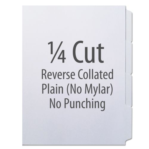 1/4 Cut Copier Tabs [Reverse Collated, No Mylar] (1260 Tabs)