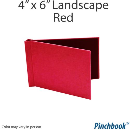 "4"" H x 6"" W Red Cloth Pinchbook™ Photo Books [No Window] (10/bx) Item#8546RDCLLNW"
