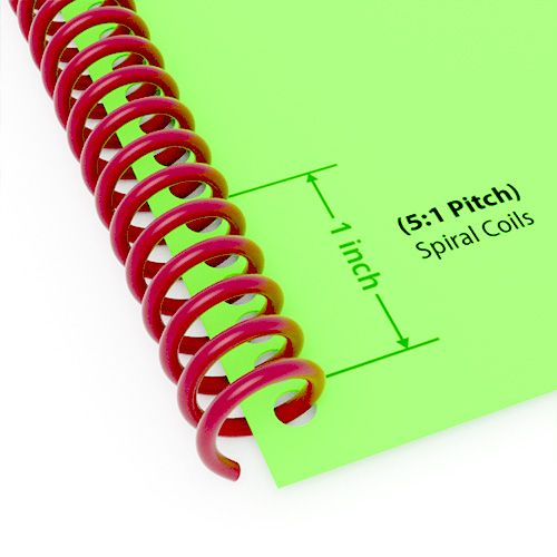 "10mm (3/8"") Maroon Spiral Plastic Coils [12"" Long, 5:1 Pitch, 80 Sheet Capacity (approx)] (100/Box) Image 1"