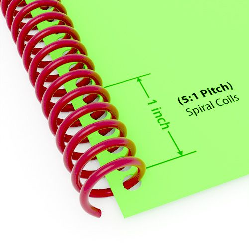"12mm (1/2"") Maroon Spiral Plastic Coils [36"" Long, 5:1 Pitch, 100 Sheet Capacity (approx)] (100/Box)"