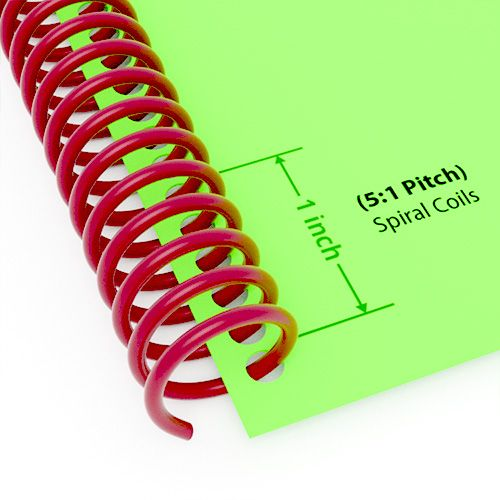 """14mm (9/16"""") Maroon Spiral Plastic Coils [12"""" Long, 5:1 Pitch, 120 Sheet Capacity (approx)] (100/Box) Image 1"""