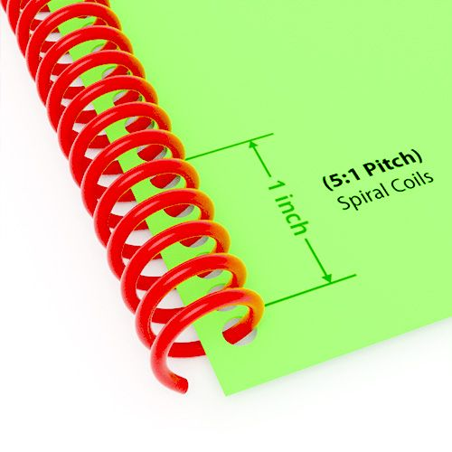 "5:1 Pitch Spiral Plastic Coil 36"" Long [11 mm (7/16""), Red](100/Box) Item#345111REDD Image 1"