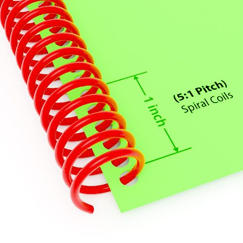"5:1 Pitch Spiral Plastic Coil 36"" Long [14 mm (9/16""), Red](100/Box) Item#345114REDD Image 1"