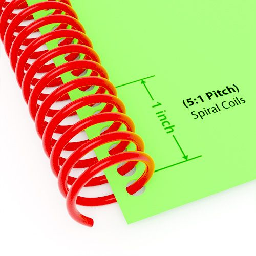 "5:1 Pitch Spiral Plastic Coil 36"" Long [16 mm (5/8""), Red](100/Box) Item#345116REDD Image 1"