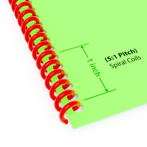 """5:1 Pitch Spiral Plastic Coil 36"""" Long [6 mm (1/4""""), Red](100/Box) Item#345106REDD Image 1"""