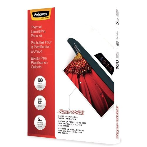 Fellowes SuperQuick 5mil Letter Size Thermal Laminating Pouches - 100pk Image 1