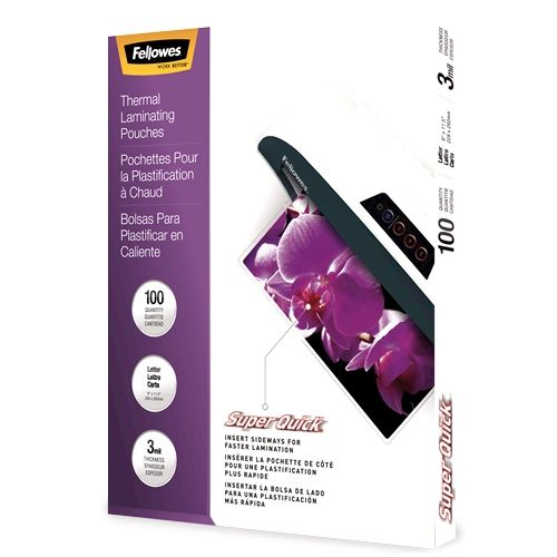 Fellowes SuperQuick 3mil Letter Size Thermal Laminating Pouches - 100pk Image 1