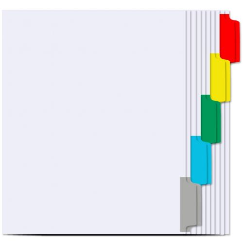 1/5 Cut Copier Tabs [Double Reverse Collated, Assorted Colored Mylar]