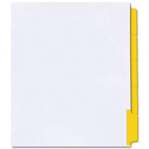 Yellow Mylar Printable Copier Tabs, Reverse Collated, 1/5 Cut, Unpunched - 1250/Case
