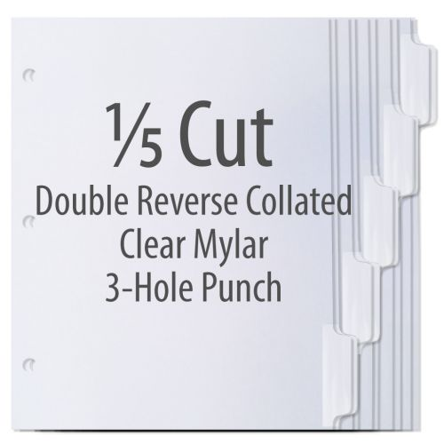 1/5 Cut Copier Tabs [Double Reverse Collated, 3-Hole Punched, Clear Mylar, 90#] (1250 Tabs) Item#103204TTAB (NOTE: MADE-TO-ORDER, REQUIRES 5 BUSINESS DAYS + TRANSIT TIME. ALL SALES FINAL/NON-RETURNABLE.)