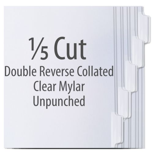 1/5 Cut Copier Tabs [Double Reverse Collated, Clear Mylar, 90#] (1250 Tabs) Item#103202TTAB (NOTE: MADE-TO-ORDER, REQUIRES 5 BUSINESS DAYS + TRANSIT TIME. ALL SALES FINAL/NON-RETURNABLE.)
