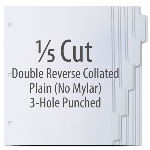 1/5 Cut Double Reverse Copier Tabs with No Mylar, 3 Hole Punched