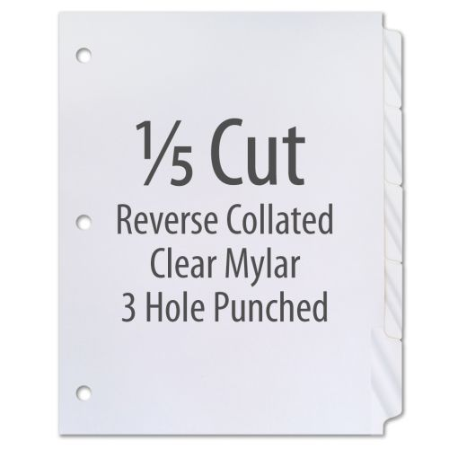 1/5 Cut Copier Tabs [Reverse Collated, Mylar, 3-Hole] (1250 Tabs)